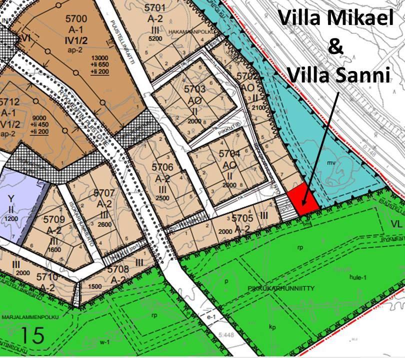 Villa Mikael ja Villa Sanni kartalla